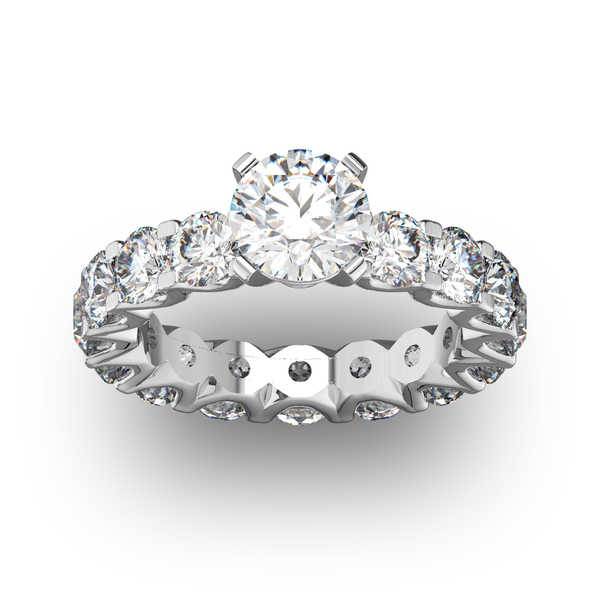 14k White Gold 5ct. Diamond Eternity Engagement Ring with 1 1/2ct. Clarity Enhanced Center Diamond - White I-J