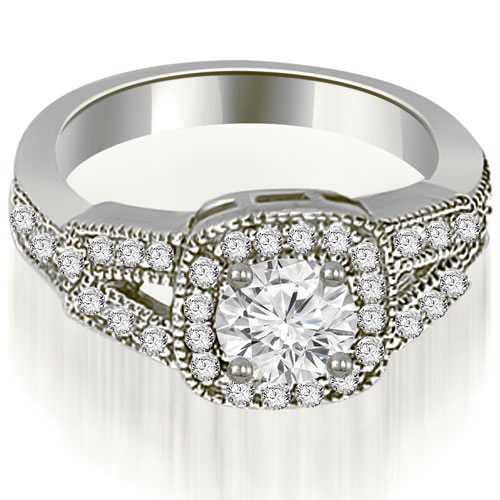 0.85 cttw. 14K White Gold Antique Round Cut Diamond Engagement Ring
