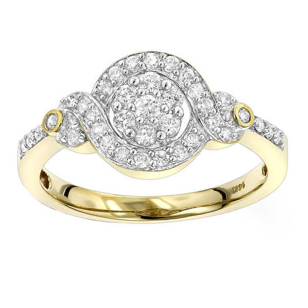 Luxurman 14k Gold 2/5ct TDW Diamond Cluster Engagement Ring