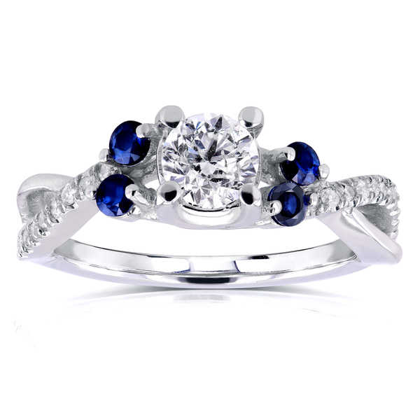 Annello by Kobelli 14k White Gold 4/5ct TCW Diamond and Blue Sapphire 5 Stone Ring