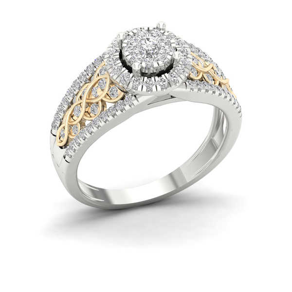 De Couer 10k Yellow Two Tone White Gold 1/2ct TDW Diamond Cluster Engagement Ring