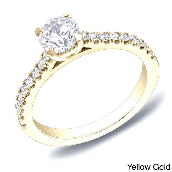 Auriya 14k Gold 1ct TDW Round-cut Diamond Engagement Ring