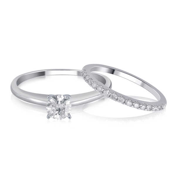 Divina 14K White Gold 1.00ct TDW Diamond Bridal Set comes in box..