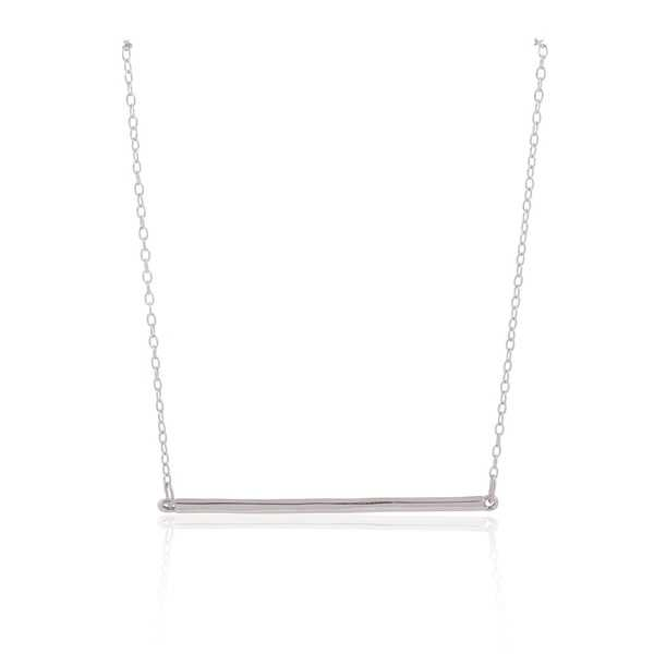 Sterling Silver Rhodium Plated Plain Bar Necklace