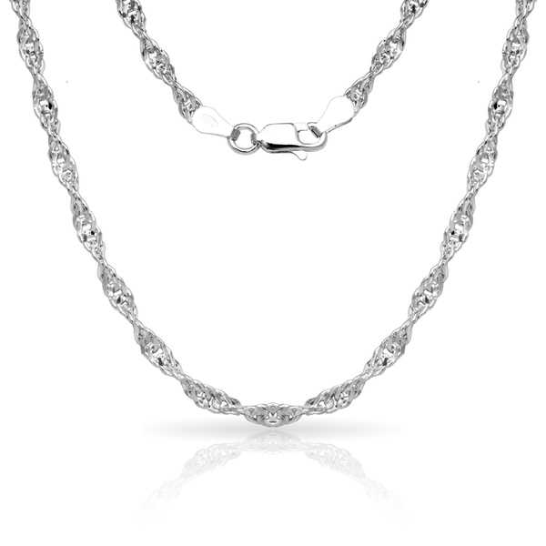 Sterling Silver Italian 3mm Diamond-cut Singapore Chain Necklace (16'-30') - White