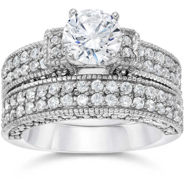 14k White Gold 2 3/4 ct TDW Cathedral Pave Diamond Engagemnt Ring And Matching Wedding Band Set