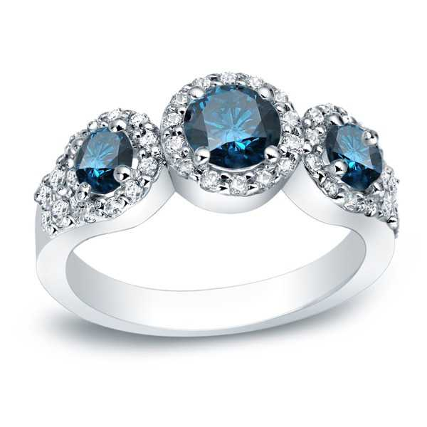 Auriya 14k Gold 1 1/5ct TDW Round Blue and White Diamond Ring