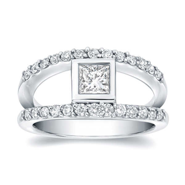 Auriya 14k White Gold 1ct TDW Princess Bezel Diamond Ring