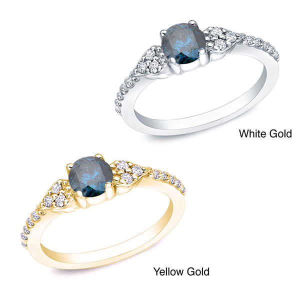 Auriya 14k Gold 2/3ct TDW Round Blue and White Diamond Ring