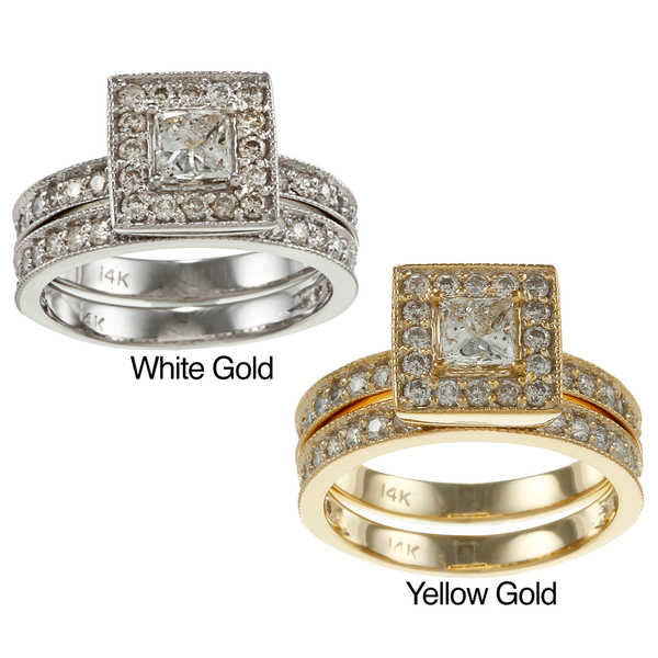 Auriya 14k Gold 1 1/2ct TDW Certified Princess-Cut Diamond Bridal Ring Set