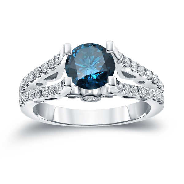 Auriya 14k Gold 1 1/2ct TDW Round Cut Diamond Engagement Ring (Blue, SI1-SI2)