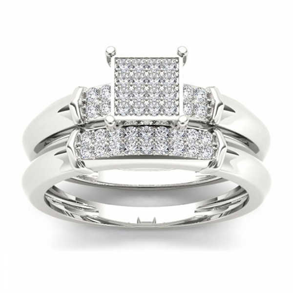 De Couer S925 Sterling Silver 1/5 ct TDW Diamond Cluster Engagement Ring Set