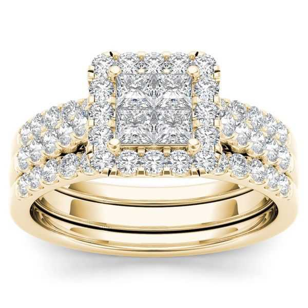 De Couer 14k Yellow Gold 1 1/4ct TDW Diamond Halo Engagement Ring Set with Two Bands