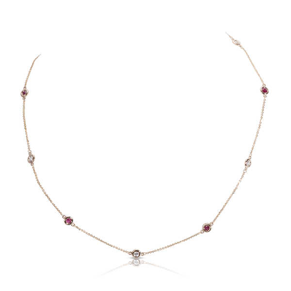 14k Rose Gold Round-cut 5/4ctw Diamonds and Rubies Necklace