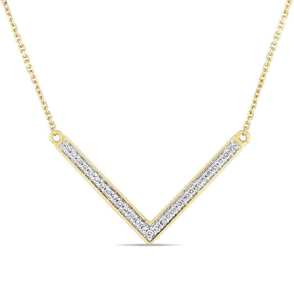 Miadora Signature Collection 14k Yellow Gold 1/7ct TDW Diamond V-Shaped Bar Necklace