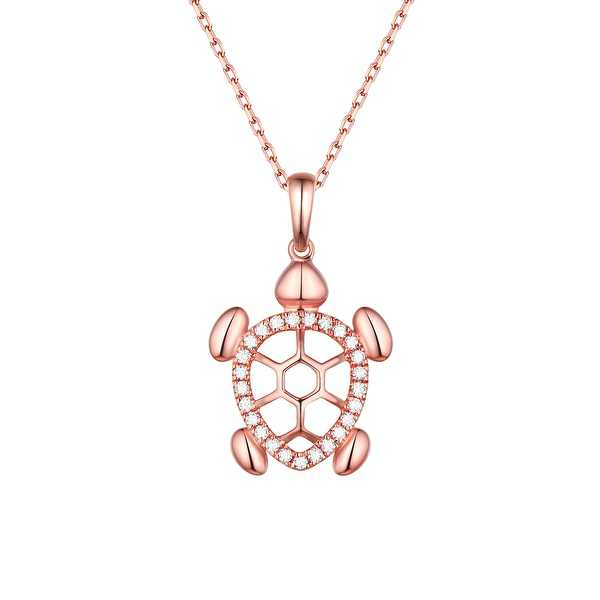 Prism Jewel G-H/SI1 Natural Diamond Turtle Charm Pendant with Chain - White