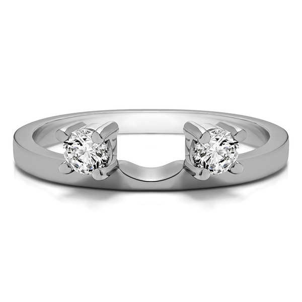 14k White Gold Three Stone Round Prong Set Ring Wrap Enhancer With Diamonds (G-H,SI2-I1) (0.8 Cts., G-H, SI2-I1)