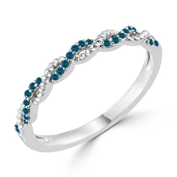 Auriya 10K Gold Stackable 0.08ct TDW Blue Diamond Rope Twist Ring
