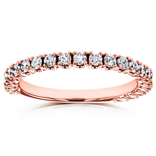 Annello by Kobelli 14k Rose Gold 1/2ct TDW Diamond Round Split Prong Wedding Band