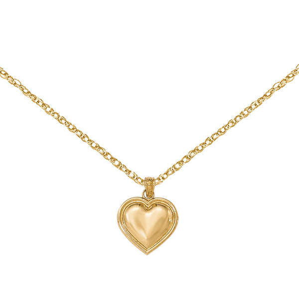 Versil 14 Karat Yellow Gold Polished Heart Pendant With 18-Chain