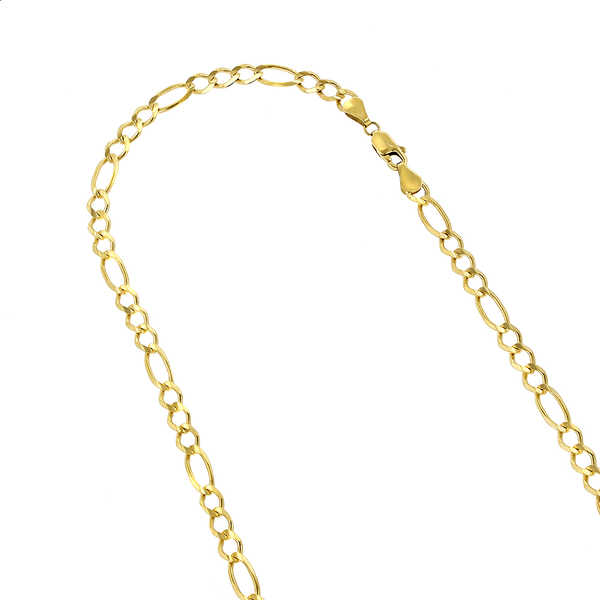 Luxurman 10k Yellow Solid Gold 6mm Figaro Diamond-cut Chain Link Necklace or Bracelet with Lobster Claw Clasp