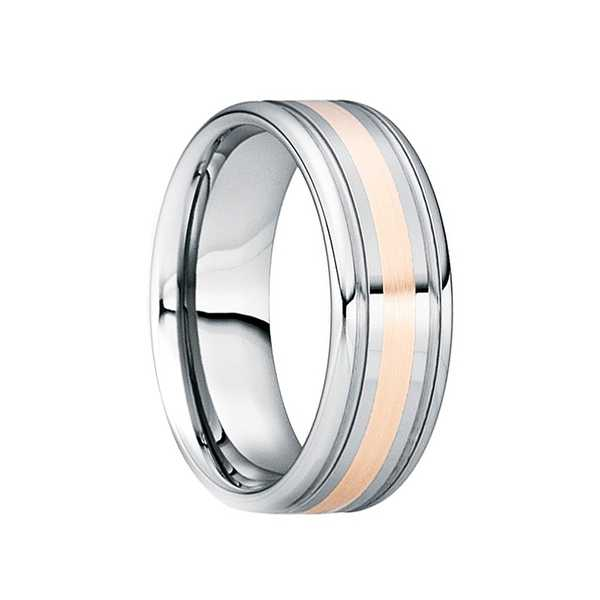 CAMILLUS Tungsten 18K Rose Gold Inlaid Wedding Band with Double Groove Accents by Crown Ring - 6mm
