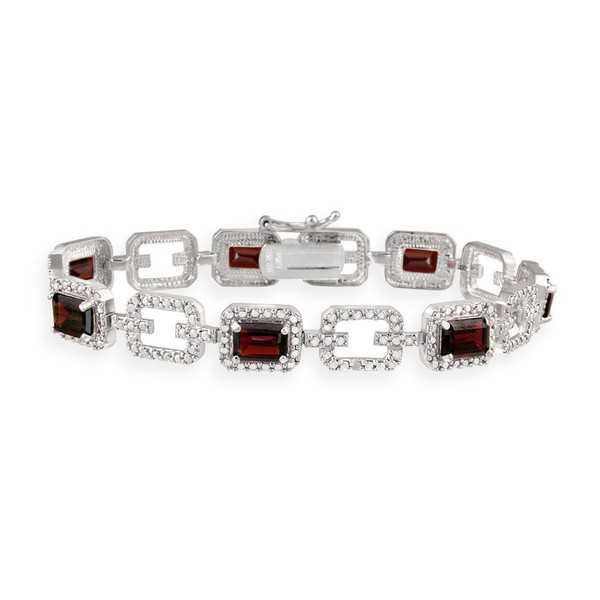 Glitzy Rocks Sterling Silver 8.4 CTW Garnet and Diamond Accent Link Bracelet