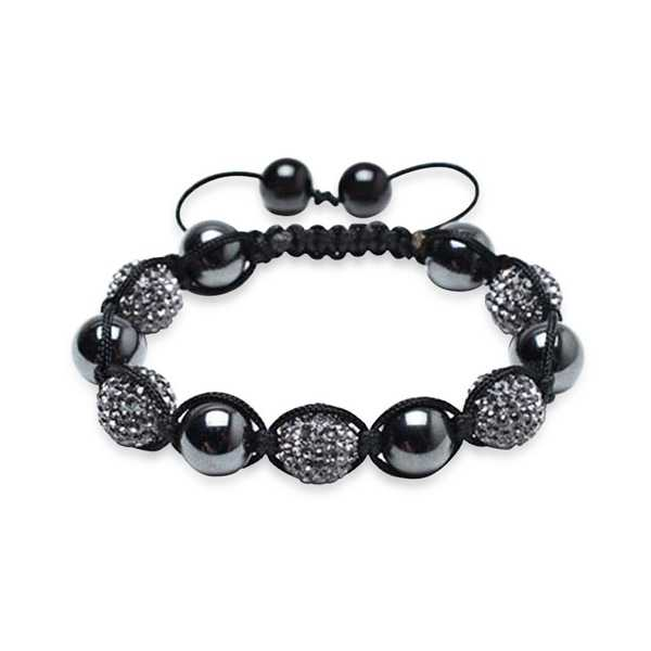 Bling Jewelry Imitation Hematite Grey Balls Shamballa Inspired Bracelet