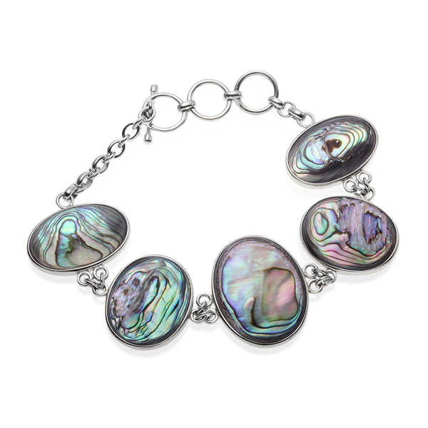 Sterling Silver Grey Mother of Pearl and Abalone Reversible Toggle Bracelet