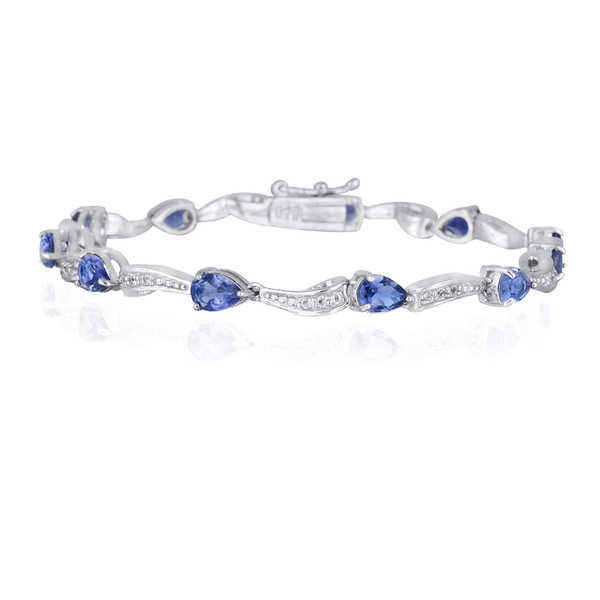 Glitzy Rocks Sterling Silver Iolite and White Topaz Bracelet