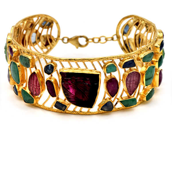Orchid Jewelry 54.25 Carat Multi Gemstones 18k Gold Over Silver Cuff Bracelet