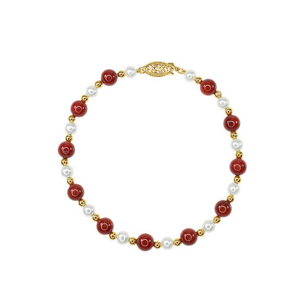 14k Yellow Gold Coral Pearl Bracelet