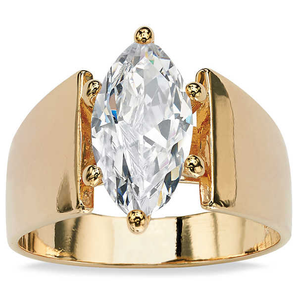 14k Gold Overlay Marquise-Cut Cubic Zirconia Solitaire Right Hand Ring