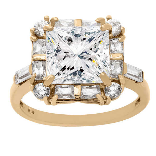 Gioelli 10KT Gold 9.05 tcw 9mm Square Center Stone CZ Ring