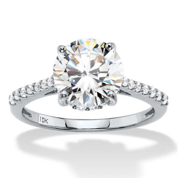 3.31 TCW Round White Cubic Zirconia Bridal Engagement Ring in Solid 10k White Gold Classic CZ