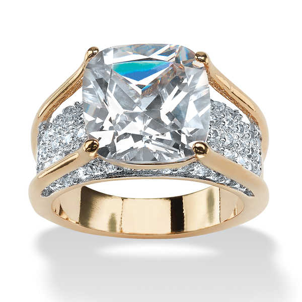 4.88 TCW Cushion Princess-Cut Cubic Zirconia 14k Gold-Plated Engagement Anniversary Ring G