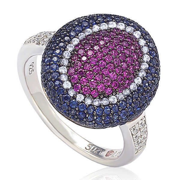 Suzy Levian Sterling Silver Cubic Zirconia Multi Color Ring