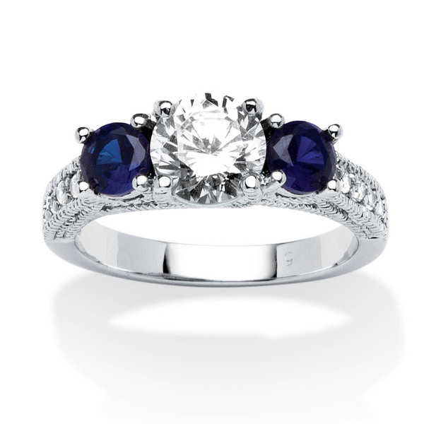 1.65 TCW Cubic Zirconia and Simulated Sapphire Ring in .925 Sterling Silver Classic Cubic