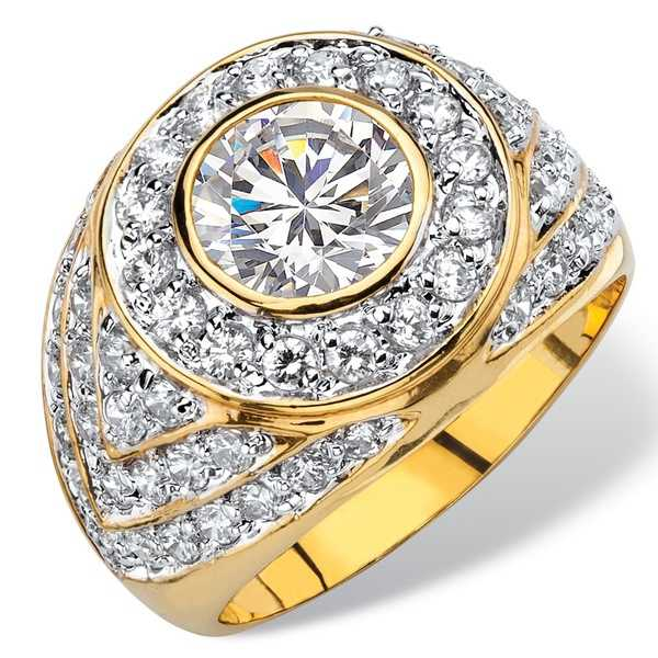 Men's 4.55 TCW Round Cubic Zirconia Geometric Cluster Ring Gold-Plated