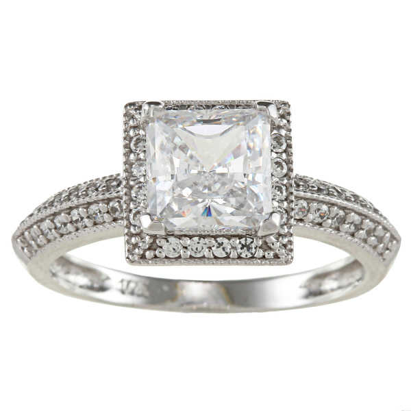 14k White Solid Gold 1 1/4ct TGW Princess-Cut Cubic Zirconia Halo Engagment Ring