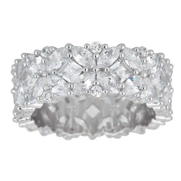 Decadence Sterling Silver Fancy Multi-cut Cubic Zirconia Eternity Ring