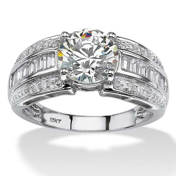 10k White Gold 2 7/8ct Round and Step-Top Baguette Cubic Zirconia Engagement Ring Classic