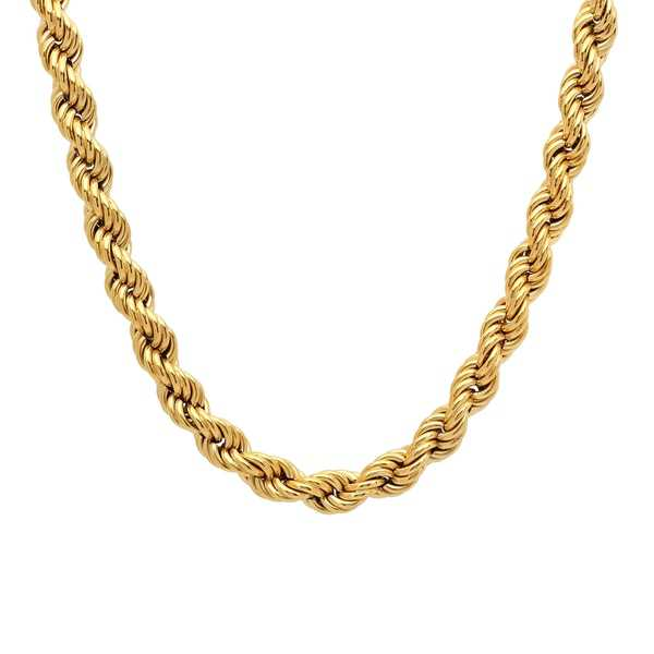 Men's Stainless Steel Gold-Tone Rope Chain Necklace, 30'