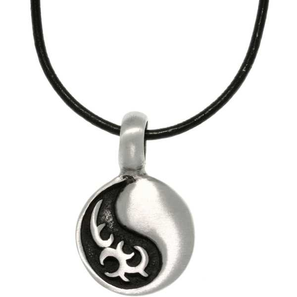 Pewter Unisex Tribal Yin Yang Necklace