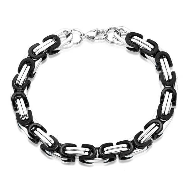 Crucible Men's Two Tone Polished Stainless Steel Double Links Byzantine Chain Bracelet - 8.5 inches (8.4mm Wide)