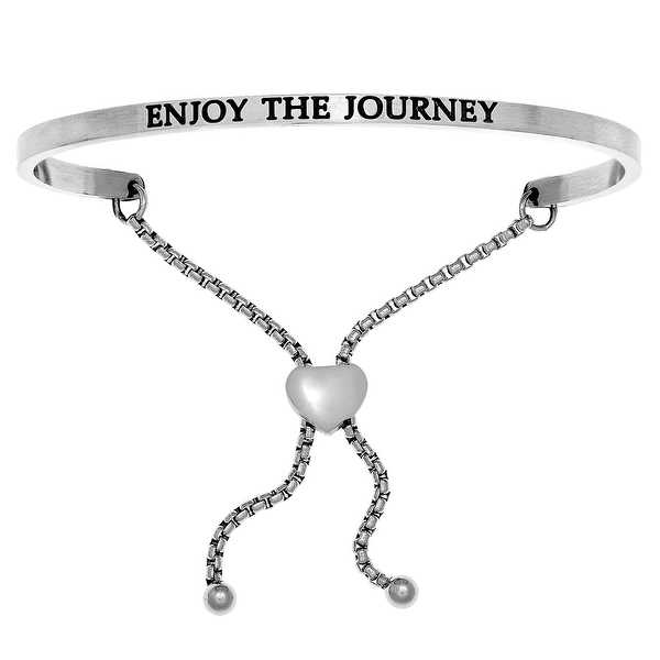 Intuitions 'Enjoy the Journey' Stainless Steel Adjustable Bolo Friendship Bracelet