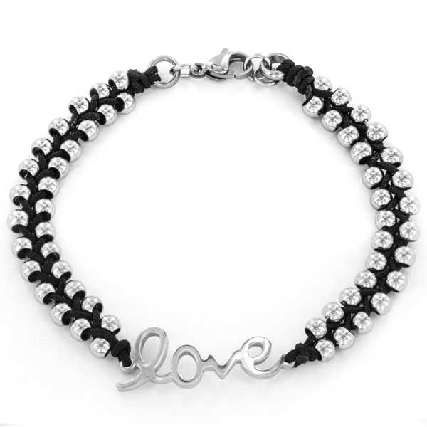 Stainless Steel Beaded and Braided Cord 'Love' Bracelet