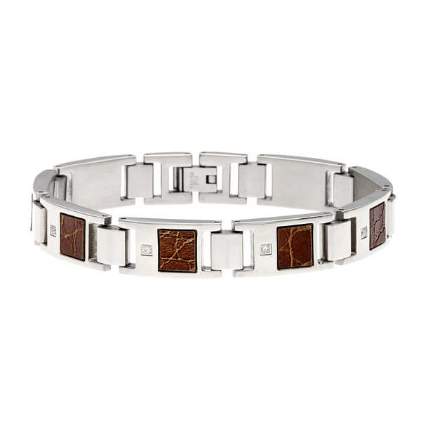 Stainless Steel 1/10ct TDW Diamond and Textured Leather Bracelet