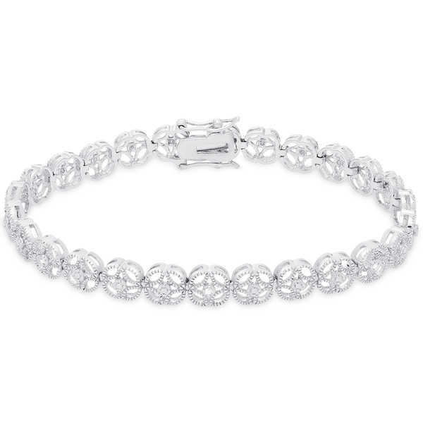 Finesque Sterling Silver Diamond Accent Flower Design Bracelet