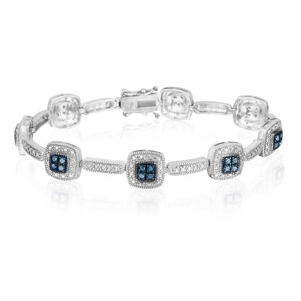 DB Designs Sterling Silver 1/3ct TDW Blue Diamond Link Bracelet